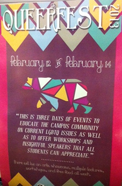 Photo of the Queerfest sign outside the CSUEB Diversity Center.