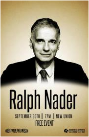 Ralph Nader speaks at CSUEB on Sept. 30 at 6pm.