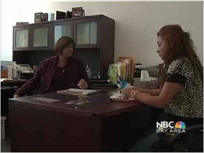 Rhonda Johnson with student Viviana Rodriguez (by: nbcbayarea.com)