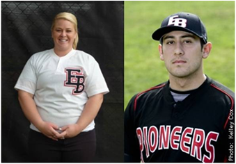 Sports photos of Sara Holdridge and David Castillo, CSUEB ball players.