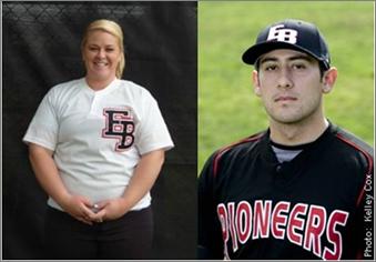 Sara Holdridge and David Castillo, CSUEB ball players.