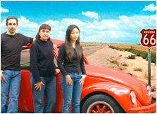 L-R: Marc Meyer, Ann King and Tina Lai with their high tech VW Bug. (Image: Ann King)