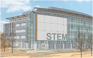 A new building proposed for the Hayward campus, as seen in an artist rendering, above, would be the first in the Bay Area dedicated to science, technology, engineering, and mathematics education and one of only a handful of STEM education buildings nationwide.