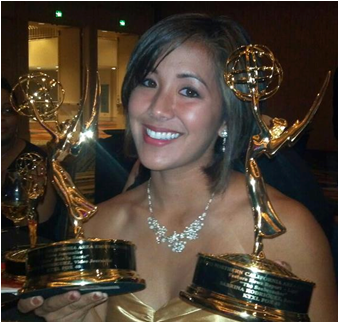Sabrina Rodriguez '05 posted this photo to her Facebook page on June 9 after winning two Emmys. (Photo: Sabrina Rodriguez)