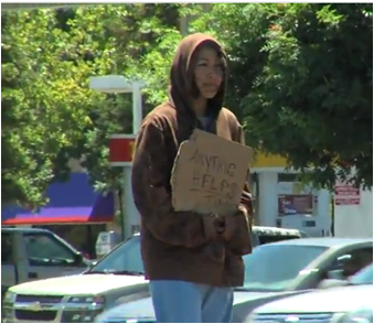 Sabrina Rodriguez '05 goes undercover to report on life as a panhandler for KTXL. (Photo: KTXL)