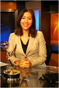 "Sabrina Rodriguez '05 with her Emmy for ""Outstanding Weekend Newscast"" (Image: KBAK TV)"