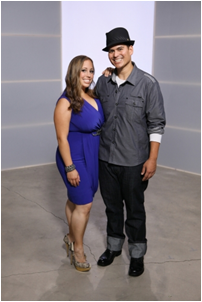 "Dawn Pino '04 and Adam Frequez '06 appear in the finale of ""Shedding for the Wedding"" (Image: cwtv.com)"