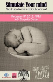 Poster for the Feb. 5 ASI Diversity Center event on abortion.