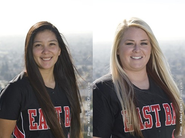 Photo of CSUEB senior softball players Taryn Thomas and Sara Holdridge