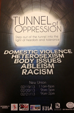 Poster for the Tunnel of Oppression event at CSUEB on Feb. 19-21.