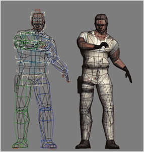 Side by side image of a video game character being created.
