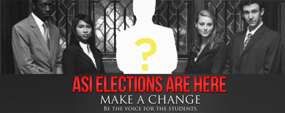 "ASI Elections logo; ""Make a change, be a voice for the students"""