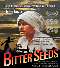 Poster promoting film showing the face of an Indian farm worker.