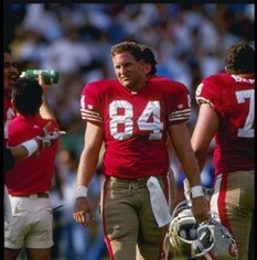 Brent Jones in uniform for the San Francisco 49ers.