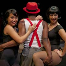 "Photo of three of the ""Chicago"" performers."