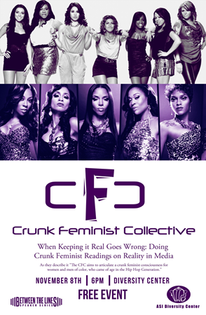 Postcard for Crunk Feminist Collective lecture at CSUEB on Nov. 8.