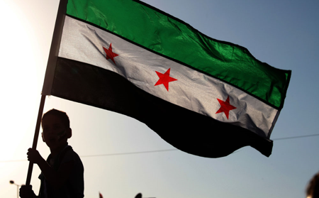 Image of a boy waving the revolutionary Syrian flag with three stars.