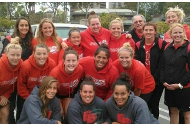 Group photo of the 2013 CSUEB women's water polo team.