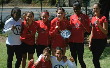 Team of CSUEB women's cross country. For the second straight year, Pioneer women's cross country team defeated CCAA opponents Sonoma State and Cal State Monterey Bay to claim the team title at the Mills Invitational on September 15. (By: Ralph Jones)