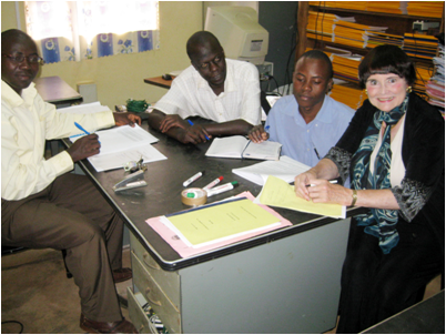 Dr. Doris Duncan in Kampala, Uganda with representatives from Kyambogo University and Logel Project. Photo: Doris Duncan.