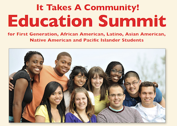 It Takes a Community: Education Summit for first-generation, African American, Latino, Asian American, Native American and Pacific Islander students; diverse group of young male and female students