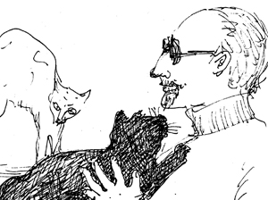 Sketch of man with two cats.