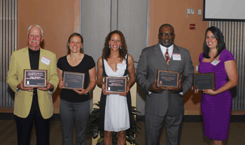 Five 2010 Athletic Hall of Fame Inductees were in attendance (L to R): Colin Lindores, Leah Pero, Miloe McCall, Darryl Robinson and Angel Alcorcha. (by: Lee Stidham)
