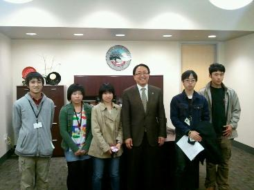 CSUEB President Morishita visits with Japanese exchange students from Sado High School.