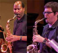 Two men playing saxophones.