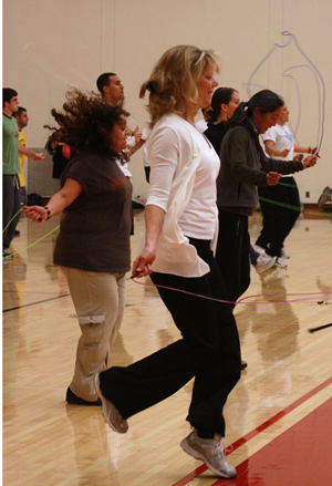Jumping rope at the main gym on CSUEB's Hayward Campus.