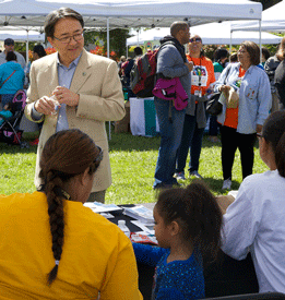 CSUEB President Leroy M. Morishita as he spoke to Expo volunteers and participants as part of April 5 activities sponsored by Hayward Promise Neighborhood. (Photo: Garvin Tso)