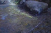 """Clear Creek,"" an oil on hardboard created in August 2011, is one of the pieces in the show."