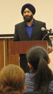 Jaideep Singh speaks to Cal State East Bay audience.