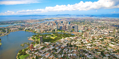 Aerial image of Lake Merritt and downtown Oakland.