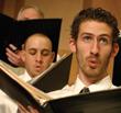 Men singing.