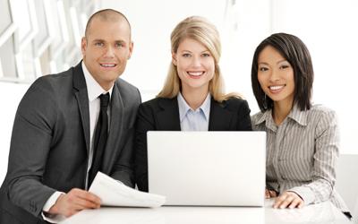 Three professionals working