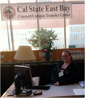 Peer Advisor Stephanie Pinkston at the new CSUEB Concord Transfer Center.