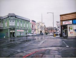 Painting of downtown Oakland street.