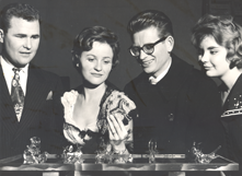 """The Glass Menagerie,"" starring Raymond Dowling, left, Gerry Blazin, Jack Hutchinson, and Marge Curry, was staged in November 1961 in room W-2 of Hayward High School."