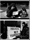 Two black and white photos of homeless persons on the street.