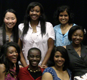 Members of CSUEB's Performing as Females Club: from left, top: Megumi Tembata, Sarah Araya and Monica Bhatnagar; bottom: Jasmin Williams, Ester Owusu, Miriam Araya and Jordan Battle.
