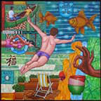 man diving into pool, fish, canoe, lounge chair