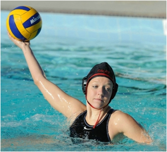 Photo of CSUEB sophomore Meaghan Paschall playing water polo.