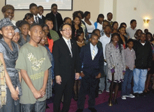 President Leroy Morishita (center) poses with the youth members of the congregation at Glad Tidings Church of God of Christ in Hayward. (Photo: Barry Zepel)