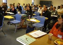 A lot of useful information passed from experienced educators to future teachers at workshop.