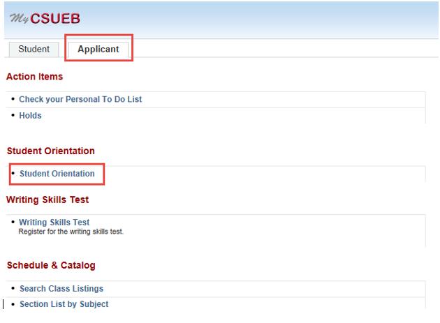 Screenshot of Orientation Registration