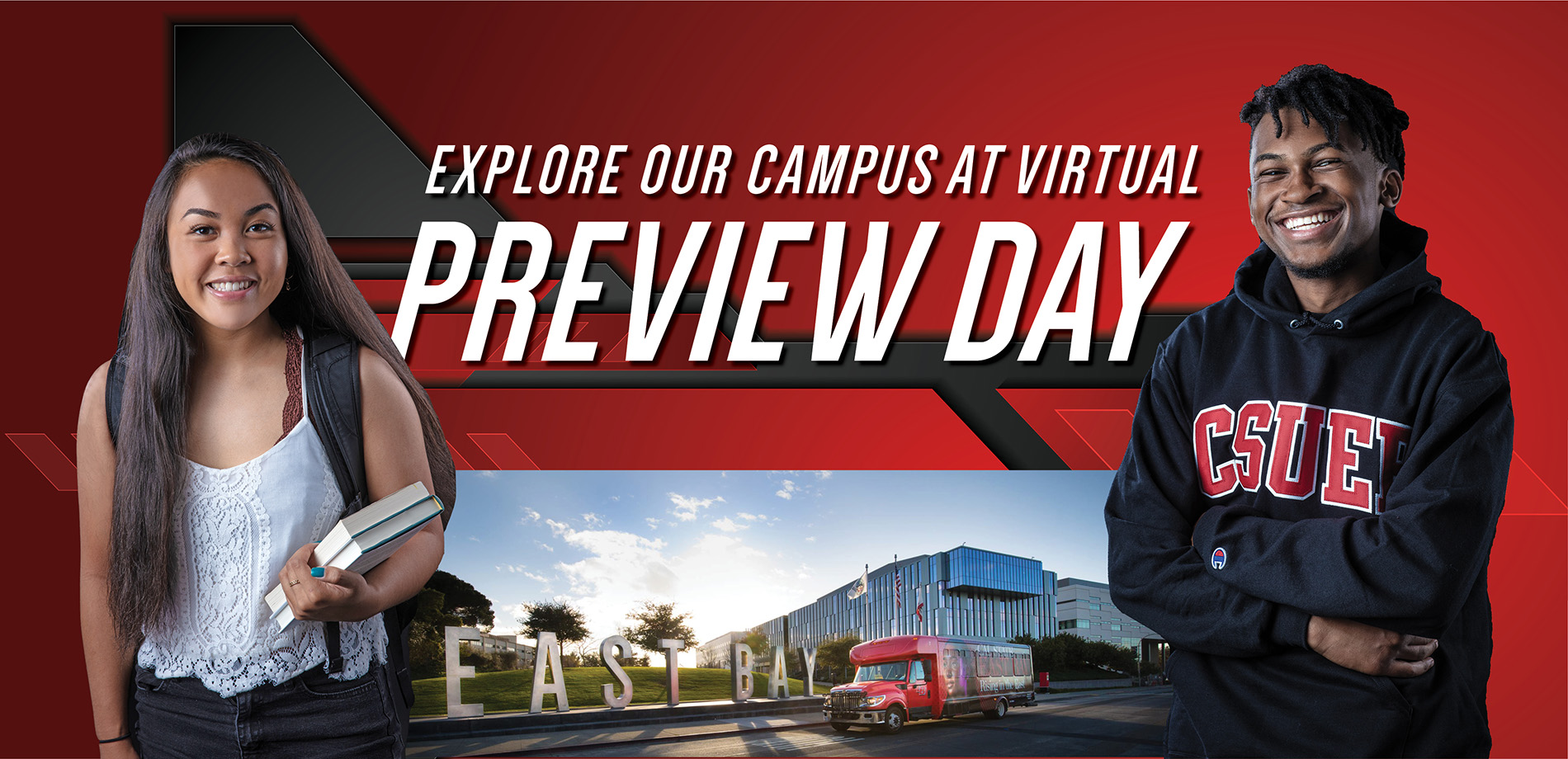 Preview Day Banner with students