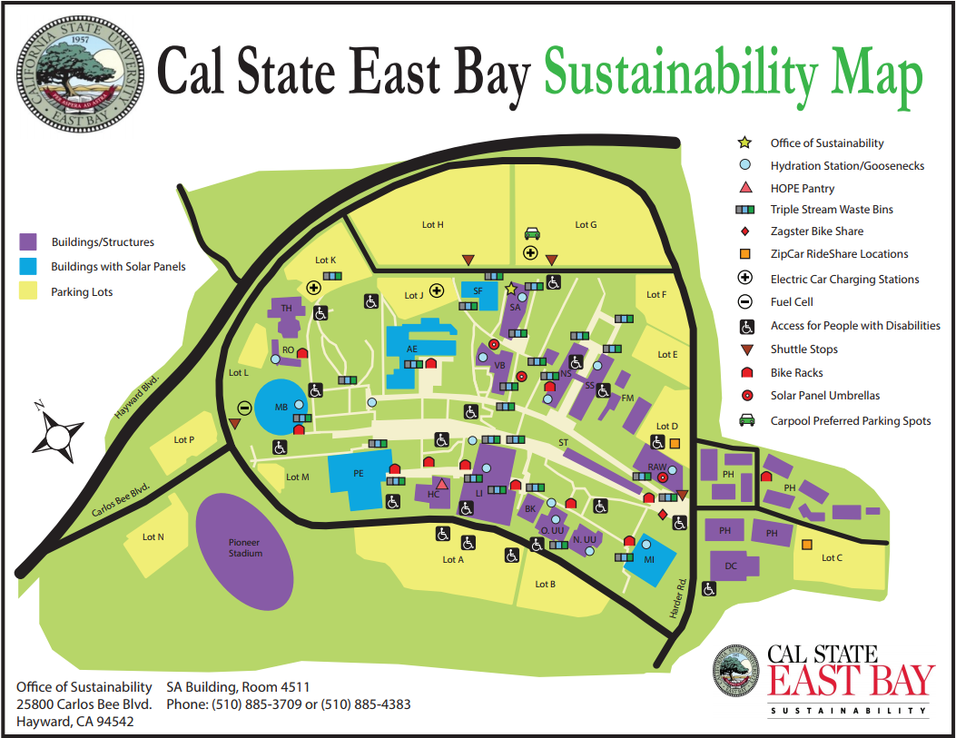 Csu East Bay Map Sustainability Map Csu East Bay Map