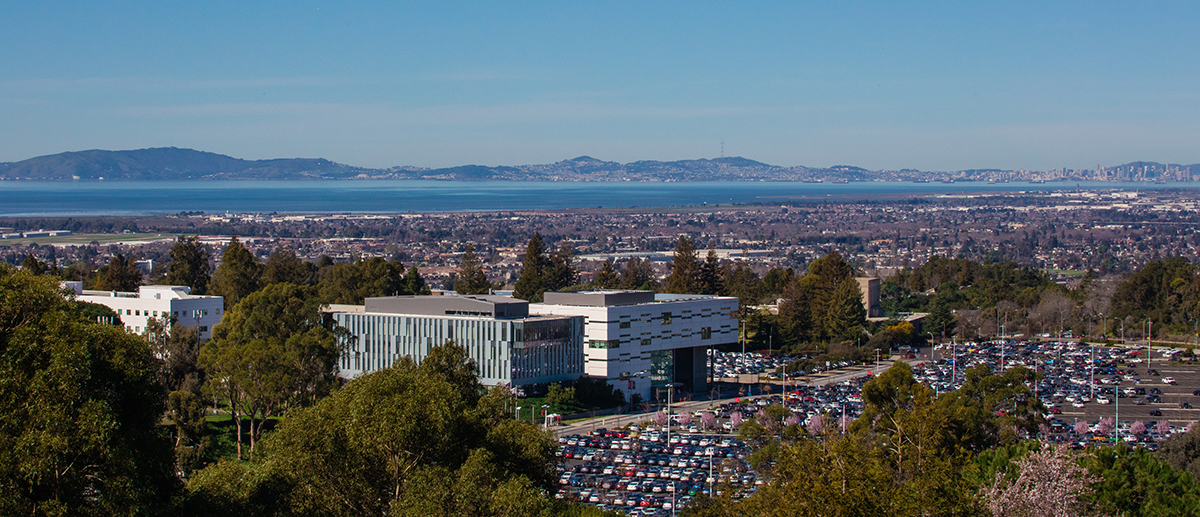 Aerial view of Cal State East Bay campus